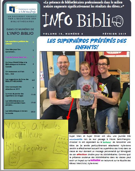 Nos élèves dans l'info biblio!